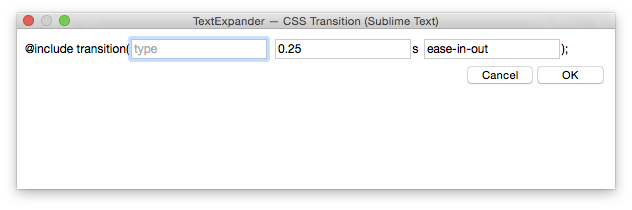 Text Expander's Fill-In Snippet Window